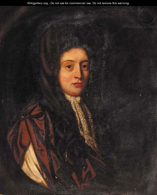 Portrait of a gentleman, half-length, wearing a brown cloak - (after) Sir Peter Lely