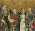 Saints Catherine of Alexandria, Margaret of Antioch and Barbara, and a bishop saint - (after) Master Of The St. Bartholomew Altarpiece