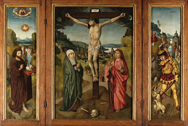 Central panel The Crucifixion with the Virgin and Saint John the Evangelist - (after) The Master Of Frankfurt