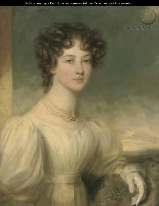 Portrait of a lady, half-length, in a white dress - (after) Sir William Beechey