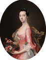 Portrait of a lady, three-quarter-length, in a pink dress, holding a basket of flowers - (after) Thomas Hudson