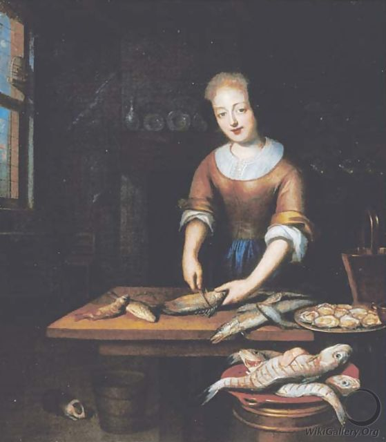 A young lady gutting fish in an interior - (after) Reynier De La Haye