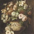 Roses, tulips, daffodils, chrysanthemums, morning glory, narcissi and other flowers in an urn decorated with putti - a fragment - (after) Rachel Ruysch