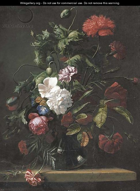 Roses, carnations, morning glory and other flowers in a glass vase on a stone ledge - (after) Rachel Ruysch