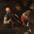 A peasant playing a bagpipe and an old woman listening with a dog - (after) Pietro Paolini