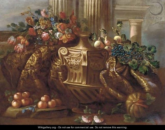Mmixed flowers, grapes, pears, peaches, a melon and a carpet - (after) Pietro Navarra