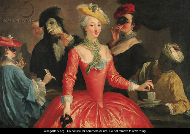 Elegant company in masque costume taking coffee and playing cards - (after) Longhi, Pietro