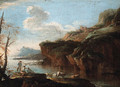 A coastal landscape with herdsmen on the shore - (circle of) Rosa, Salvator