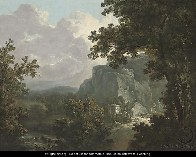 An extensive wooded river landscape with classical ruins - (after) Richard Wilson