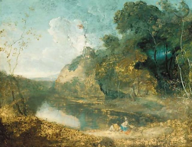A wooded river landscape,with countryfolk resting in the foreground, a hilltop ruin beyond - (after) Richard Wilson