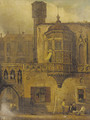 Figures outside a continental courtyard - (after) Samuel Prout