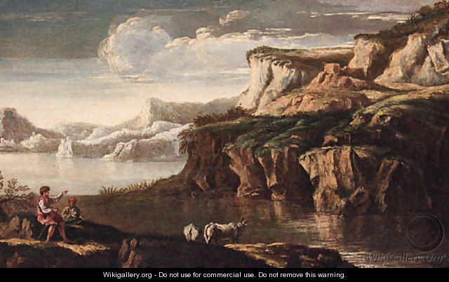 A rocky Italianate landscape with drovers and cattle at a pool - (circle of) Rosa, Salvator