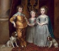 The three eldest children of Charles I Charles, Prince of Wales (1630-1685), Mary, Princess Royal (1631-1660), and James, Duke of York (1633-1701) - (after) Dyck, Sir Anthony van