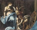 Saint Catherine of Alexandria tended by putti - (after) Simone Pignoni
