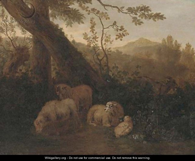 A wooded landscape with sheep in the foreground - (after) Simon Van Der Does