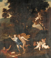 A wooded landscape with Apollo and Daphne - (after) Pier Francesco Mola