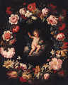 The Infant Christ in a medallion surrounded by a garland of flowers - (after) Pier Francesco Cittadini