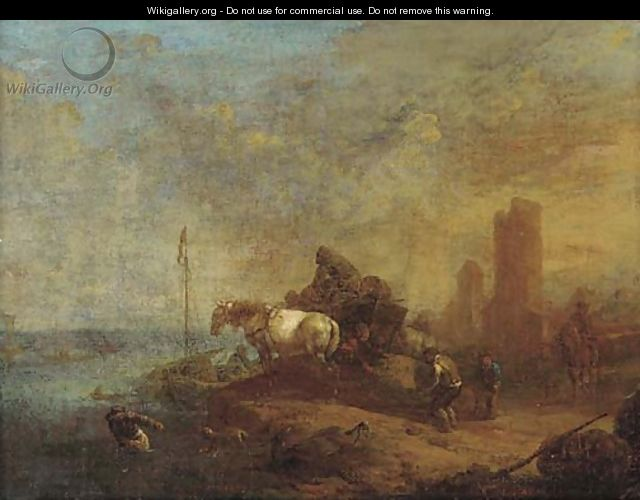 Workers loading a boat near a horse and cart, a town beyond - (after) Philips Wouwerman