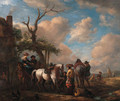 Travellers halting by a forge - (after) Philips Wouwerman