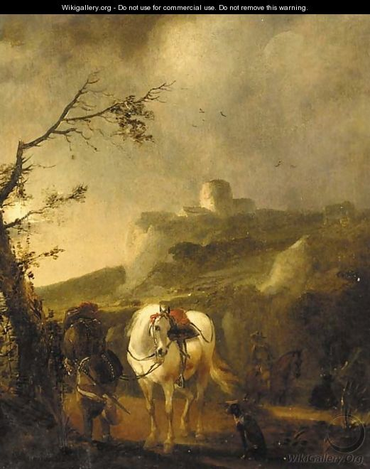A landscape at dusk with a cavalier beside his mount - (after) Philips Wouwerman