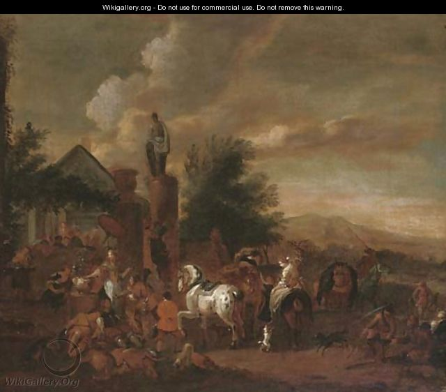 A hawking party at rest by an inn - (after) Philips Wouwerman