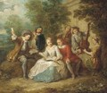 Elegant company playing music in a garden - (after) Mercier, Philippe