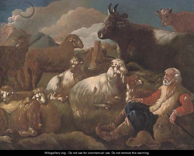 A shepherd resting with his cattle in a mountainous landscape - (after) Philipp Peter Roos