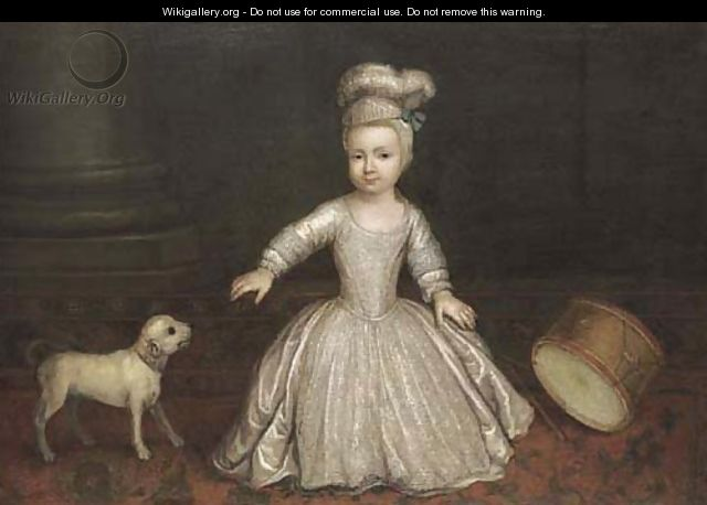 Portrait Of A Young Child, Full-Length, In A White Dress With A Dog And Drum Beside A Column, In An Interior - (after) Mercier, Philippe
