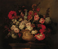 Roses, lilies, narcissi, marigolds and other flowers in a sculptured urn on a plinth - (after) Pieter Casteels