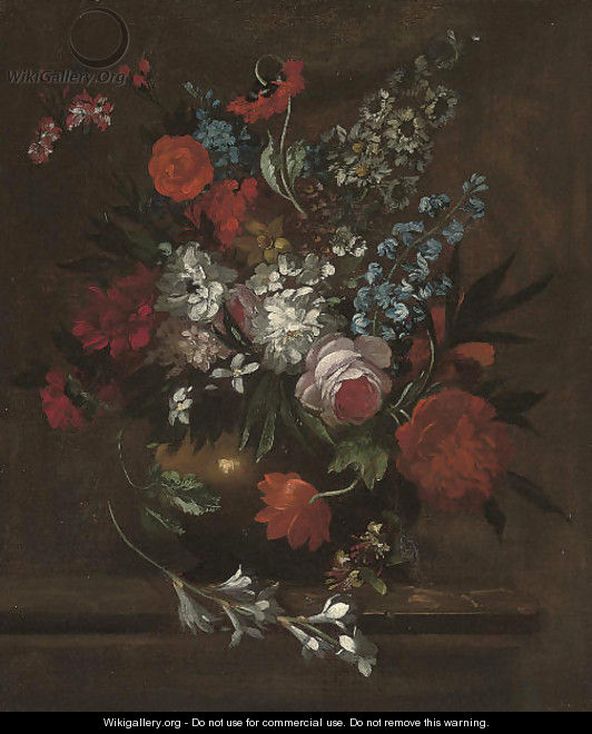 Roses, chrysanthemums, morning glory, lilies, carnations and other flowers in a vase on a stone ledge - (after) Pieter Casteels III