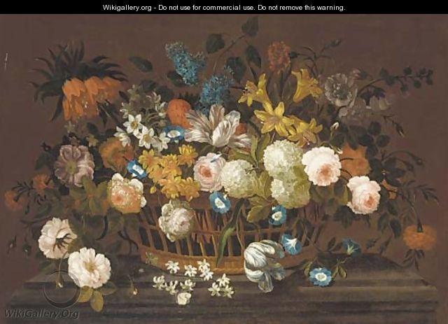 Lillies, tulips, roses, hydrangea, lilac, chrysanthemums, and other flowers in a basket, on a marble plinth - (after) Pieter Casteels III