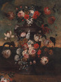 Flowers in an urn in a landscape - (after) Pieter Casteels III