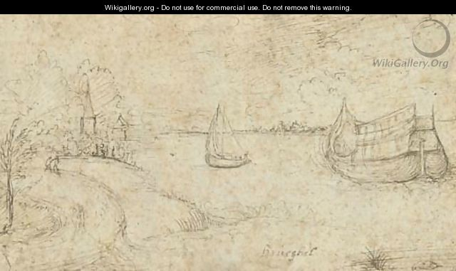 Two ships on a broad estuary, figures on a path in the left foreground - (after) Pieter The Elder Bruegel