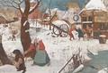 A winter landscape with peasants in a village - (after) Pieter The Younger Brueghel