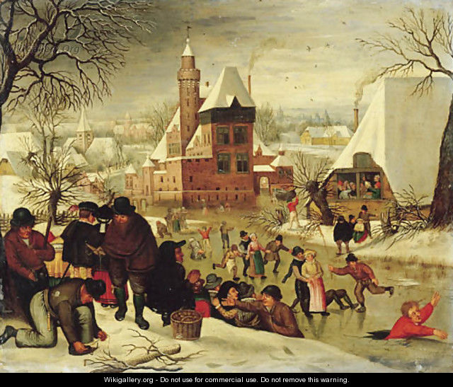 A winter landscape with peasants skating and playing kolf on a frozen river, a town beyond - (after) Pieter The Younger Brueghel
