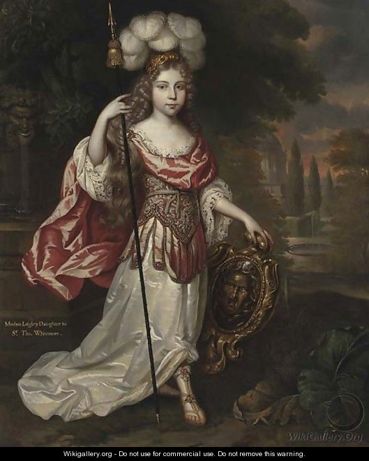 Portrait of Madame Lagley, daughter to Sir Thomas Whitemore, full-length, in a white and pink Roman dress - (after) Mignard, Pierre II