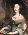 Portrait of a noblewoman said to be Charlotte de Louigny nee de Castelnau, seated half length on a terrace by a draped column, wearing a gold embroide - (after) Mignard, Pierre II