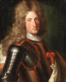 Portrait of a nobleman, said to be Marechal Tourrain, bust-length, in armour, wearing a lace cravat, a wig and the star of the Order of the Garter - (after) Mignard, Pierre II