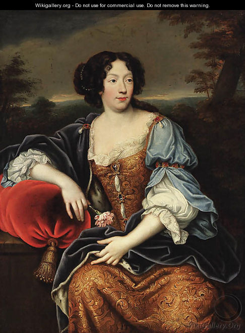 Portrait of a lady, seated, three-quarter-length, in a blue and gold brocade dress and an ermine lined wrap, a wooded landscape beyond - (after) Mignard, Pierre II