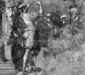 A Warrior On A Horseback And Two Standing Soldiers - (after) Perino Del Vaga (Pietro Bonaccors)