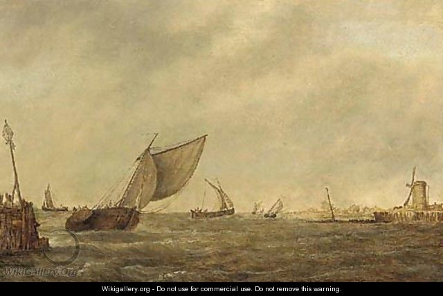 Shipping in a stiff breeze - (after) Pieter The Elder Mulier