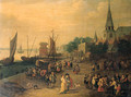 A fishmonger on a quay outside a city gate - (after) Pieter Gysels