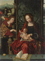 The Virgin and Child enthroned, with the Angel Gabriel proffering a lily a fragment - (after) Pieter Coecke Van Aelst