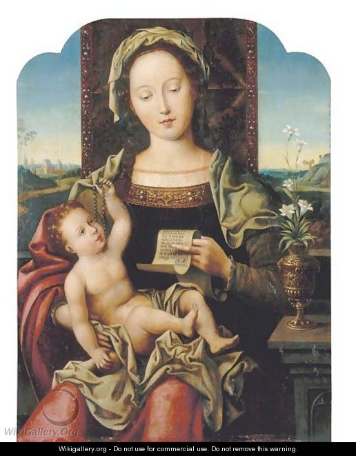 The Virgin and Child Enthroned 2 - (after) Pieter Coecke Van Aelst