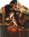 The Holy Family with an angel crowning the Virgin, a landscape beyond - (after) Pieter Coecke Van Aelst
