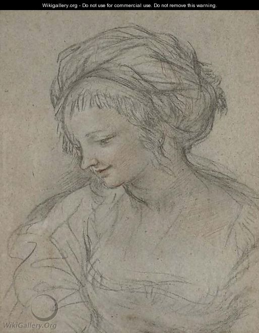 A young woman wearing a turban, bust-length, in profile to the left - (after) Cortona, Pietro da (Berrettini)
