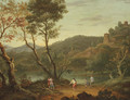 An Italianate landscape with 'boule' players on the banks of a lake, fortified towns in the distance - (after) Peter Tillemans