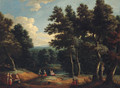 A wooded landscape with peasants by a sandy track - (after) Peter Tillemans