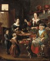 The interior of a grocer's shop with a woman making pancakes - (after) Michiel Van Musscher
