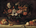 Flowers in a wicker basket with pears, onions and apples on a stone ledge - (after) Michele Pace Del (Michelangelo Di) Campidoglio